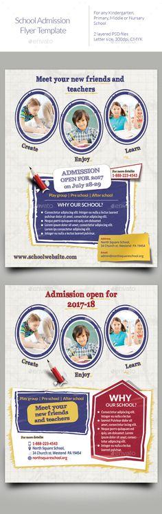School admission Flyer Templates — PSD Template #flyer #preschool #primary…
