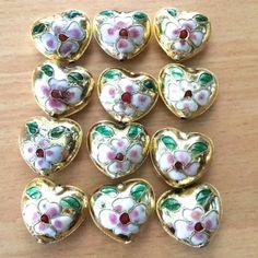 Cloisonne Hearts - Gold, 24mm, 12 pcs