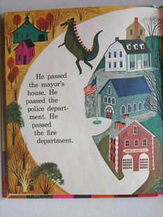 Dinosaur Comes to Town Book Art Seiden от NorthernScoutVintage