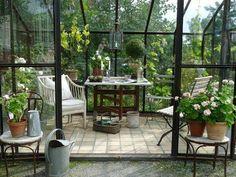 Marvelous Wintergarten M bel Holz boden Belag Keramik Topfpflanzen Glasw nde Bel ftung Schiebet r