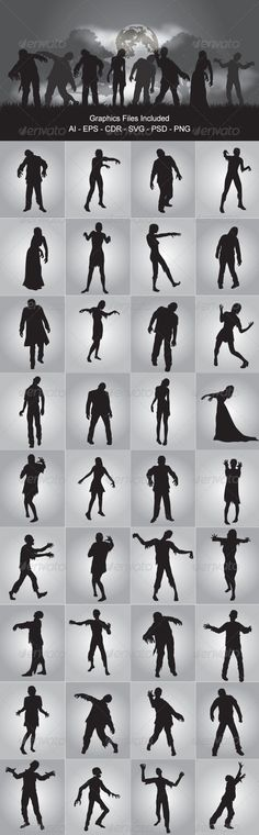 Zombie Silhouettes  #GraphicRiver         Zombie Silhouettes vector design. In this files include AI and EPS versions. You can open it with Adobe Illustrator CS and other vector supporting applications. I hope you like my design, thanks  	 Graphics Files I