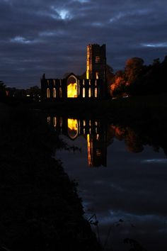 Fountains Abbey, North Yorkshire at dusk Great British, North Yorkshire, Cathedrals, Dusk, Britain, New York Skyline, Community, Spaces, Building