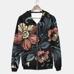 Black Floral Hoodie