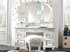 I love the PBteen Chelsea Vanity Gold Bedroom on pbteen.com