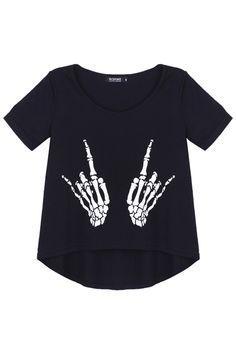 Skull Hand Black T-shirt #romwe