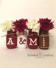 Texas A&M Mason Jars Aggie Decor Texas Decor by RebekahCreations