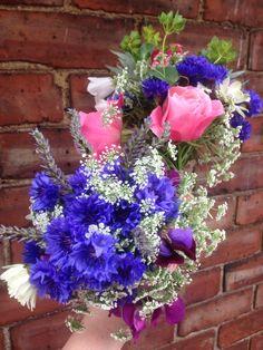 Garden posies for friends, 4th July.  Pink roses, blue cornflower, white Ammi, purple sweet pea.