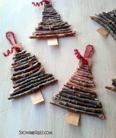 Rustic twig and cardboard Christmas tree ornaments - StowandTellU