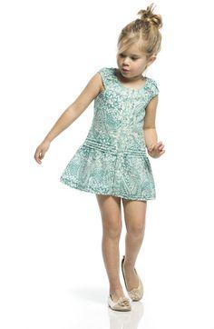 Precioso vestido corto en color turquesa. Disponible en tallas 4, 6 y 8 años! En www.sunestkids.com Aprovecha las rebajas!