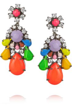 Shourouk   Silver-plated Swarovski crystal earrings. These bright and playful earrings are a twist on a classic, elegant style.