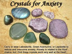 "Crystals for Anxiety — Carry or wear Labradorite, Green Aventurine, or Lepidolite to reduce and overcome anxiety. Anxiety is related to the Root chakra, but I find these crystals work very well at the Heart chakra. — Affirmation: ""I love and accept myself Crystals Minerals, Rocks And Minerals, Crystals And Gemstones, Stones And Crystals, Gem Stones, Chakra Crystals, Blue Crystals, Crystal Healing Stones, Crystal Magic"