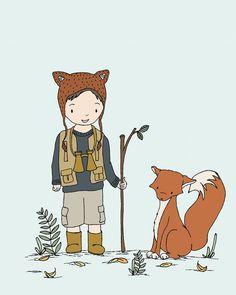 Woodland Art Adventure Pals Boy and Fox door SweetMelodyDesigns