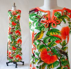 25% STOREWIDE SALE - Vintage 50's Elsie Krassas Pake Mu'u Hawaiian Maxi Dress / Native Birds & O'hia-Lehua Blossom Print