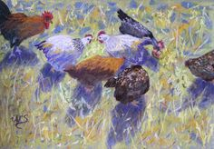 """""""Pecking Order"""" - pastel painting by Wendy Sinclair at a class with Penelope Gilbert-Ng on 15.10.13"""