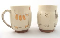 Cat Mug by BreadButterPottery on Etsy