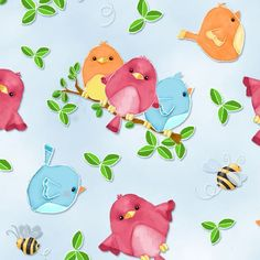 light blue colorful bird bee leaf fabric by Henry Glass - Animal Fabric - Fabric - kawaii shop modeS4u