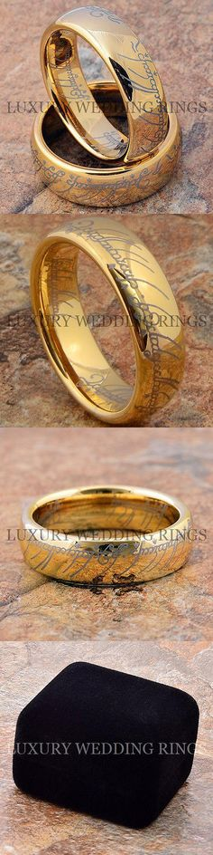 Other Wedding and Anniv Bands 92866: Gold Tungsten Lord The Rings Set Wedding Bands Lotr Bridal Jewelry Size 6-13 BUY IT NOW ONLY: $65.7