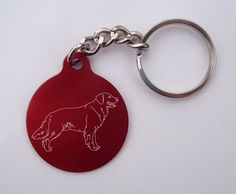 Laser-Etched Golden Retriever Key Chain: Red Circle Golden Retriever Key Chain