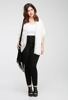 Forever 21+ - While we'll always adore our chunky sweaters, some days just require effortless dressing. This dolman short-sleeved kimono has that throw-it-on-and-go look that we just love. It's complete with an open front and crochet trim for a dash of vintage-inspired charm.