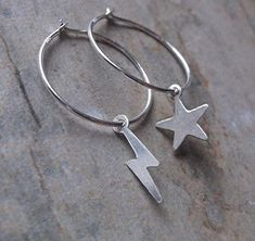 Sterling Silver Mismatched Hoops, Star Hoop and Lightning Bolt Hoop, Gifts for Her RoseCJewellery Lightning Bolt, Silver Stars, Metal Stamping, Free Gifts, Gifts For Her, My Design, Jewelry Design, Hoop Earrings, Sterling Silver