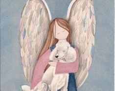Estándar raza poodle blanco con angel / Lynch firmado impresión de arte popular