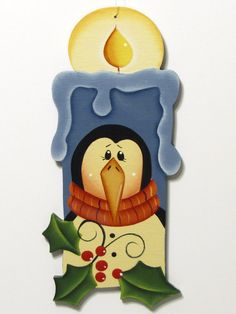Penguin on Candle Shaped Ornament, Handpainted Wood. $6,50, via Etsy.