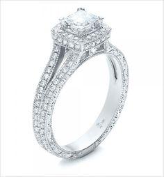Princess Cut and Halo Diamond Engagement Ring. Ring Design: Joseph Jewelry ---> http://www.weddingchicks.com/2014/05/20/engagement-rings/