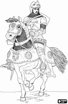 Knight in armor and helmet riding a horse coloring page