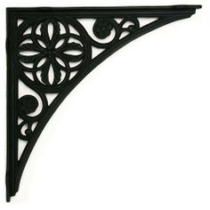 Four Leaf Motif Large Iron Shelf Bracket - Black Powder Coat by Whittington Collection. $61.95. The central four leaf motif is detailed with berries and accenting flowers in this large iron shelf bracket. Sold individually. Available in Black Powder Coat finish. Bracket dimensions: 15-1/2 x 15-1/2 . Bracket is 1-1/8 wide. Can be mounted with either end against the wall. Made of iron. Sold individually. Includes matching fastening hardware.