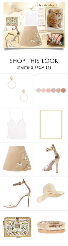 """Sem Título"" by dehti ❤ liked on Polyvore featuring Deborah Lippmann, Carven, Branca, Tecnica, RED Valentino, Gianvito Rossi, Eugenia Kim and Dolce&Gabbana"