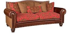 King Hickory  Outlaw Leather and Fabric Sofa