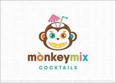 Logo for sale: Bold, fun and unique monkey character with the face of the monkey created with various fruits. The smile is created with a slice of orange/lemon with the eyes represented by an apple and blueberry. The top of the monkeys head is transferred into a opened coconut with a straw and a cocktail umbrella to complete this fun monkey logo.