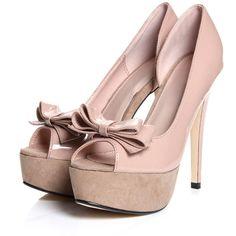 Narelle Nude Patent Bow Peeptoe Platform Heels ($60) ❤ liked on Polyvore