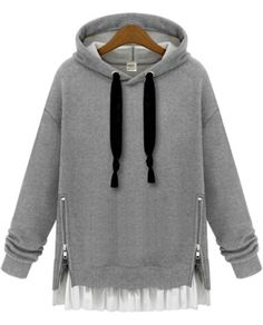 Grey Hooded Long Sleeve Zipper Loose Sweatshirt -SheIn(Sheinside) Mobile Site