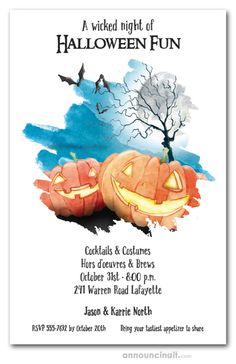 Jack o' Lanterns and bare tree branches under a huge full moon, perfect design for Halloween party invitations or Halloween birthday invitations for creatures of all ages. See our entire collection at Announcingit.com