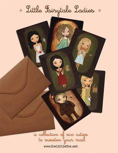 Gorgeous art by lovely artist:  SALE Art Postcard Set  Little Fairytale Ladies by thelittlefox, $4.50