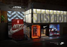 Nike - Forward Engineering vs Industrial Logoism on Behance Estilo Interior, Retail Interior, Nike Retail, Retail Facade, Architecture Presentation Board, Outdoor Signage, Retail Store Design, Interior Decorating, Interior Design