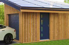 Garage en bois solaire (Solaire Box) pour voiture électrique (Tesla model S)