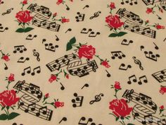 Flannel Fabric  Music Notes and Red Roses  1 yard  by SnappyBaby