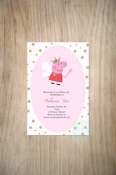 Girls Peppa Pig Invitation DIY - Printable de moorecreativestore en Etsy https://www.etsy.com/es/listing/207210105/girls-peppa-pig-invitation-diy-printable