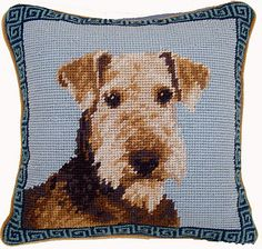 Airedale Terrier Needlepoint Pillow - A Love Of Dogs – For the Love Of Dogs - Shopping for a Cause