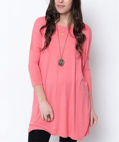 Look at this Caralase Coral Drop-Shoulder Tunic on #zulily today!
