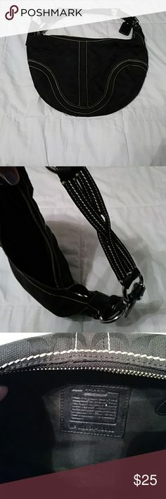 Black Coach Purse All Black Coach purse with woven leather strap. Coach Bags Shoulder Bags
