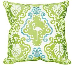 Fabulous new tropical look for your coastside home can be created with these bright pops of kiwi-lime green and aqua blue lavishly embroidered flamingo and palms motif pillow.