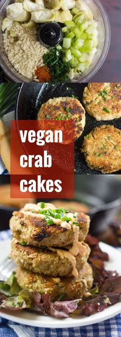 These melt-in-your-mouth vegan crab cakes are made with seasoned artichoke heart patties coated with crispy panko breadcrumbs, pan-fried until crisp, and served with spicy cashew-sriracha aioli.