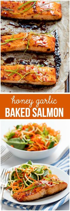 Honey Garlic Baked Salmon - One of the easiest and tastiest salmon recipes you'll ever make! Just 15 minutes in the oven and you have a delicious, healthy meal. #salmon #healthyfoodfish