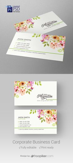 Corporate Floral Business Card Free Printable Business Cards, Free Business Cards, Business Card Design, Floral Printables, Free Printables, Bussiness Card, Country Names, Vector Free, Graphic Design