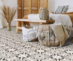 Bedroom Flooring, Vinyl Flooring, Dark Blue Feature Wall, Peel And Stick Vinyl, Tile Countertops, Stick On Tiles, Encaustic Tile, Vintage Tile, Tile Installation