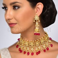 Palnia Necklace Set with Earrings (Choker Style) in dull gold finish studded with kundan, red jade, and pearls Pearl Drop Necklace, Bridal Necklace, Necklace Set, Indian Necklace, Ethnic Outfits, Stone Gold, Indian Bridal, Designer Wear, Choker