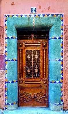 Teal and pink doorway in Marrakech, Morocco. Grand Entrance, Entrance Doors, Doorway, Old Doors, Windows And Doors, Door Knockers, Door Knobs, A As Architecture, When One Door Closes